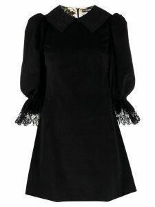 Dolce & Gabbana puff-sleeved short velvet dress - Black
