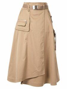 Loveless belted high-waisted skirt - Brown