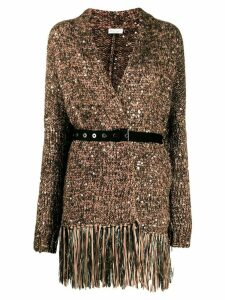 Brunello Cucinelli sequin embellished belted cardigan - Brown
