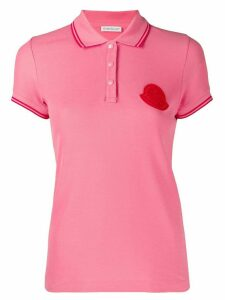 Moncler logo plaque polo top - PINK