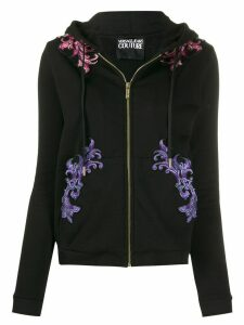 Versace Jeans Couture embroidered drawstring hoodie - Black