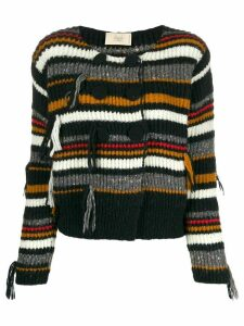 Maison Flaneur double-breasted striped cardigan - Black