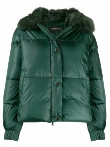 Emporio Armani faux-fur collar padded jacket - Green