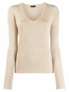 Joseph V-neck fine knit jumper - NEUTRALS