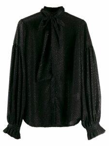 Wandering tie neck metallic detail shirt - Black