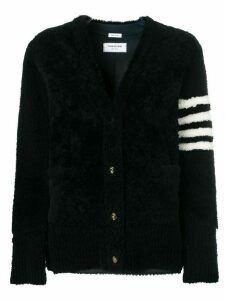 Thom Browne 4-Bar Shearling Cardigan Jacket - Blue