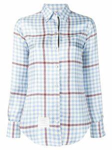 Thom Browne Gun Club Overcheck Silk Shirt - Blue