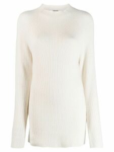 Joseph long-line ribbed knit jumper - NEUTRALS