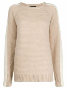 Cashmere In Love contrast side panel Morgan sweater - NEUTRALS