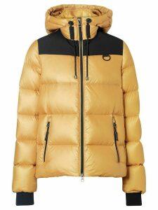 Burberry logo print hooded puffer jacket - Yellow