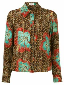 Rixo leopard floral shirt - Brown