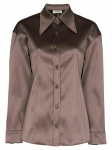 We11done exaggerated collar button-down shirt - Brown