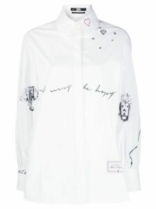 Karl Lagerfeld Tribute Shirt by Cara Delevingne - White