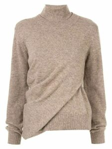 Goen.J wrap effect knit top - Brown