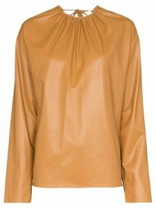 We11done open-back long-sleeve blouse - NEUTRALS