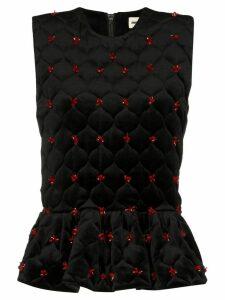 Shushu/Tong embellished quilted peplum top - Black