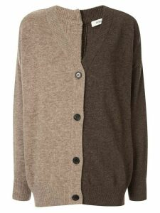 Goen.J two-tone knit cardigan - Brown