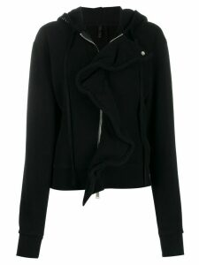 UNRAVEL PROJECT frill-trim zipped hoodie - Black