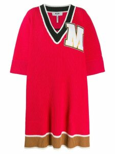 MSGM knitted letterman poncho - Red