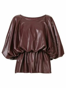 Goen.J voluminous vegan leather top - Brown
