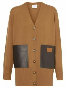 Burberry Lambskin Pocket Merino Wool Cardigan - Brown
