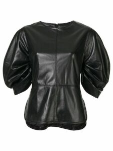 Goen.J crescent sleeved vegan leather top - Black