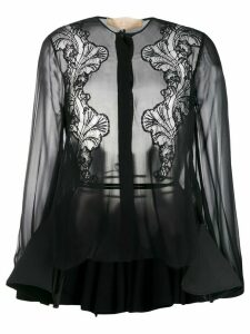 Antonio Berardi lace-panelled chiffon shirt - Black