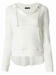 Frei Ea cropped elongated back hoodie - White
