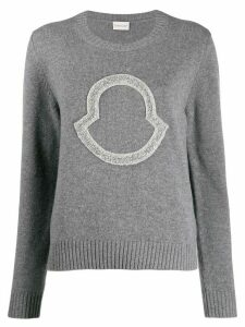 Moncler sequin logo-embroidered jumper - Grey