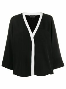 Emporio Armani loose-fit contrast trim blouse - Black