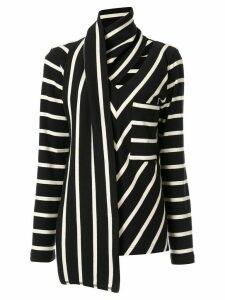 Goen.J embellished scarf striped jersey top - Black