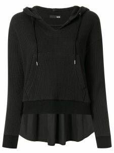 Frei Ea elongated back cropped hoodie - Black