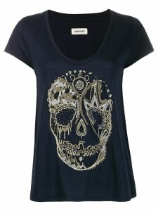 Zadig & Voltaire embroidered skull T-shirt - Blue