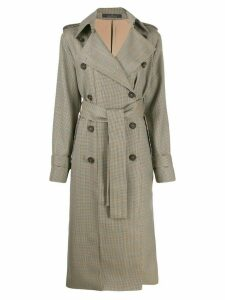 Rokh dog-tooth double-breasted coat - Brown
