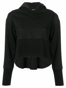 Goen.J panelled knit hoodie - Black
