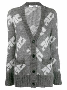 Courrèges V-neck monogram cardigan - Grey