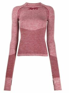 Reebok x Victoria Beckham logo long-sleeve fitted top - Red