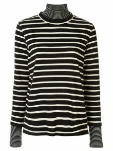Goen.J layered striped turtleneck top - Black