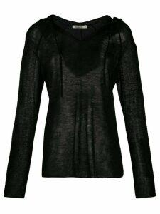 Mes Demoiselles fine knit hoodie - Black