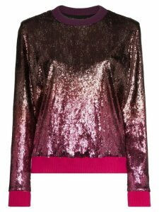 Mary Katrantzou Magpie ombré-effect sequinned sweatshirt - PINK
