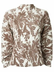 Goen.J floral print long sleeve blouse - White