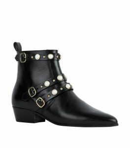 Leather Embellished Buckle Boots