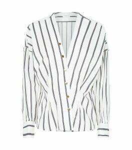 Stripe Press-Stud Shirt Blouse