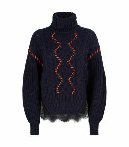 Lace-TrimRollneck Sweater