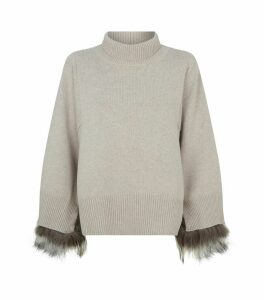 Wool Rollneck Fur Trim Sweater