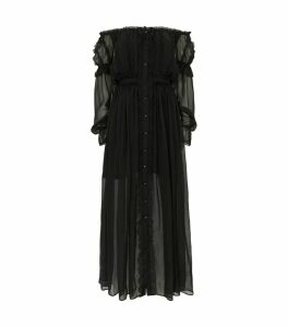 Mesh and Lace Maxi Dress
