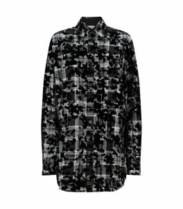 Flocked Check Print Shirt
