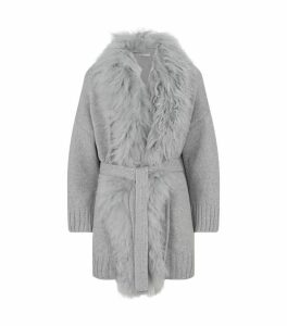 Belted Fur Trim Cardigan