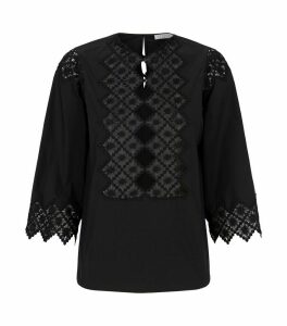 Guipure Lace-Trim Blouse
