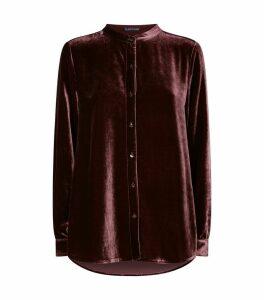 Velvet Mandarin Collar Shirt